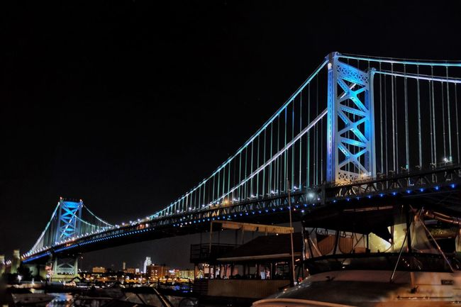 Architecture Built Structure Bridge - Man Made Structure Night Connection Suspension Bridge Illuminated Ben Franklin Bridge Philly Phillylove ❤️ Engineering Travel Destinations Famous Place Low Angle View Transportation Travel Clear Sky Tourism City International Landmark Mobilephotography FUJIFILM X-T1 City Life Sky
