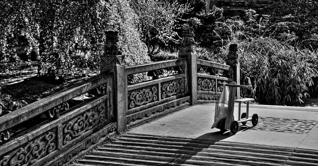 Black & White Abandoned Bike Black And White Bridge Carvings Chinese Footbridge No People Sculpture Stone Bridge Wooden Bike