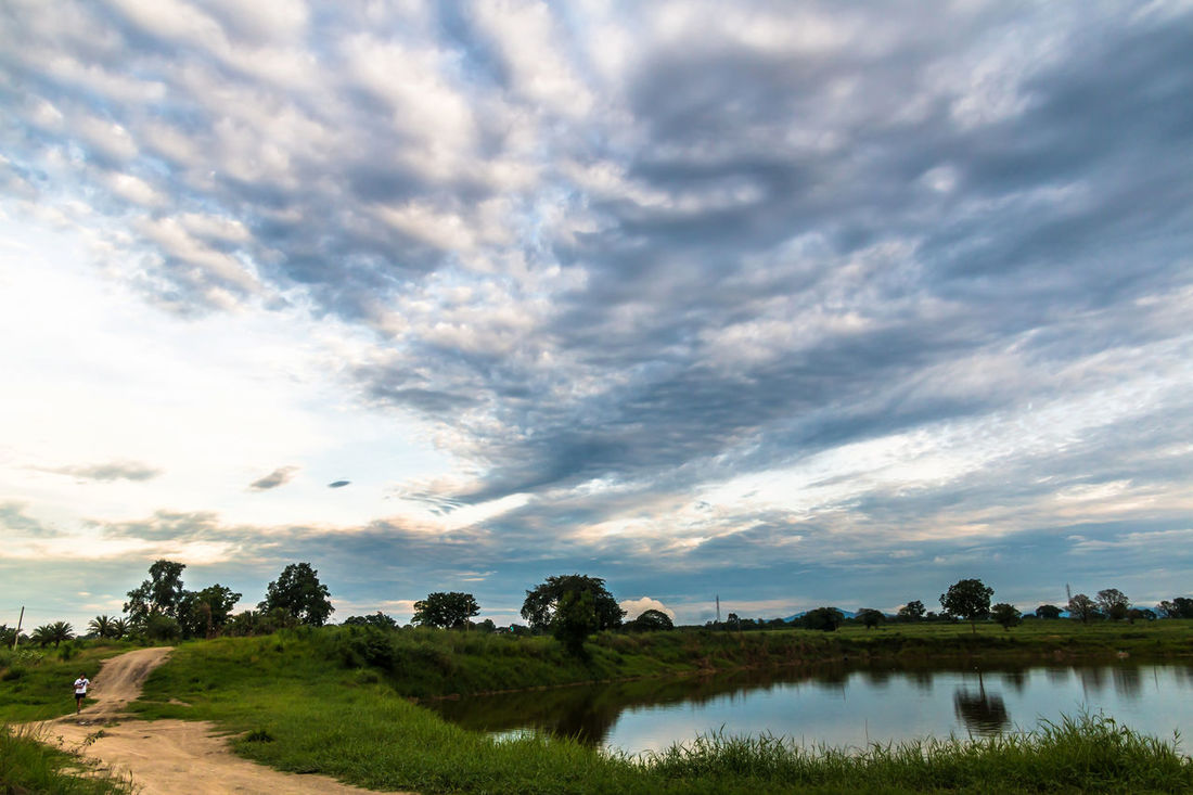 Landscape in cloudy day with fluffy cloud Background; Beauty In Nature Blue Sky; Cloud - Sky Day Evening; Fluffy Cloud; Grass Green; Lake Landscape Local Road; Meadow; Mountain; Nature No People Outdoors Pond; Scenics Sky Sunset Tranquil Scene Tree Tropical; Water