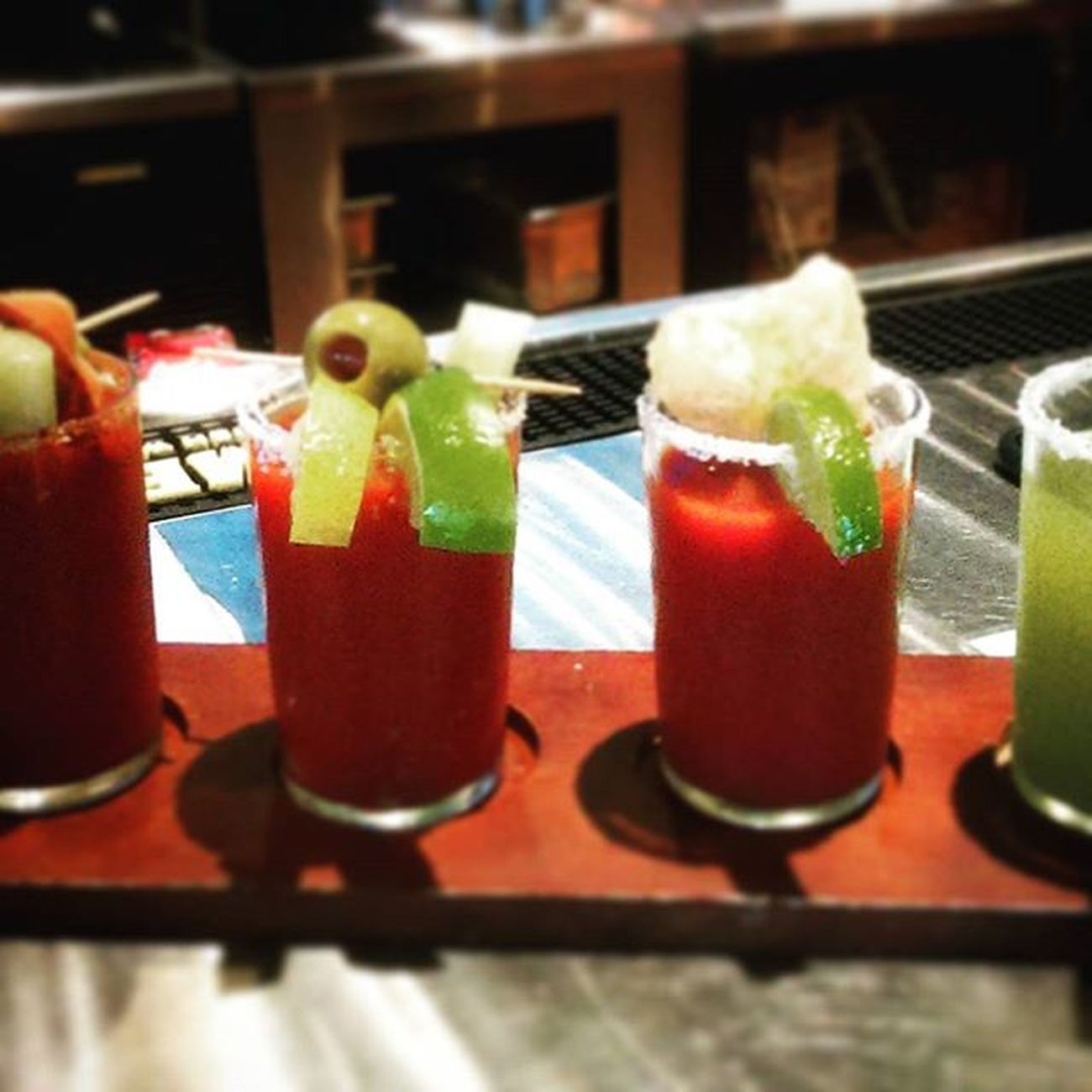 """I've never had A Bloody Mary before.. Tried a """"flight"""" of them at OINK. Breakfastlunchbacon Oink Bloodymary yum!!!!"""