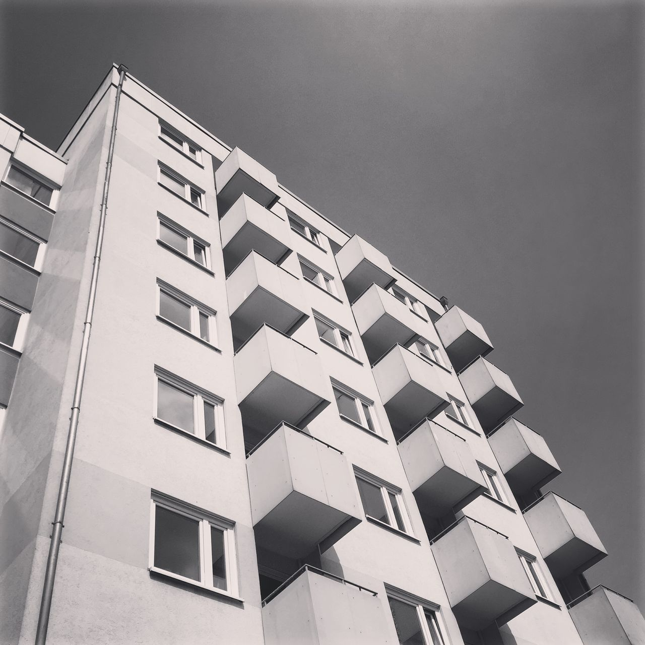 Abstract Architecture Architecture_collection Balcony Berlin Photography Berliner Ansichten Berlinstagram Black & White Blackandwhite Bnw Building Exterior Built Structure Clear Sky Day Kreuzberg Low Angle View Minimal No People Outdoors Pattern Plattenbau Sky Skyview Structure Window