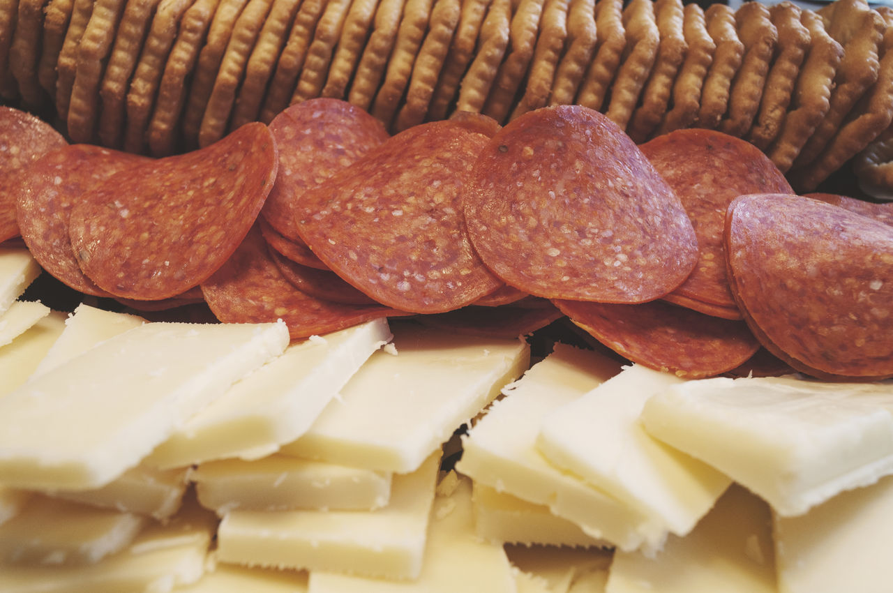 Pepperoni, Cheese and Cracker Party Tray Appetizers Appetizer Cheese Close Up Close-up Crackers Food Foodphotography Party Peperoni Plate Processed Meat Ready-to-eat Snack Tray