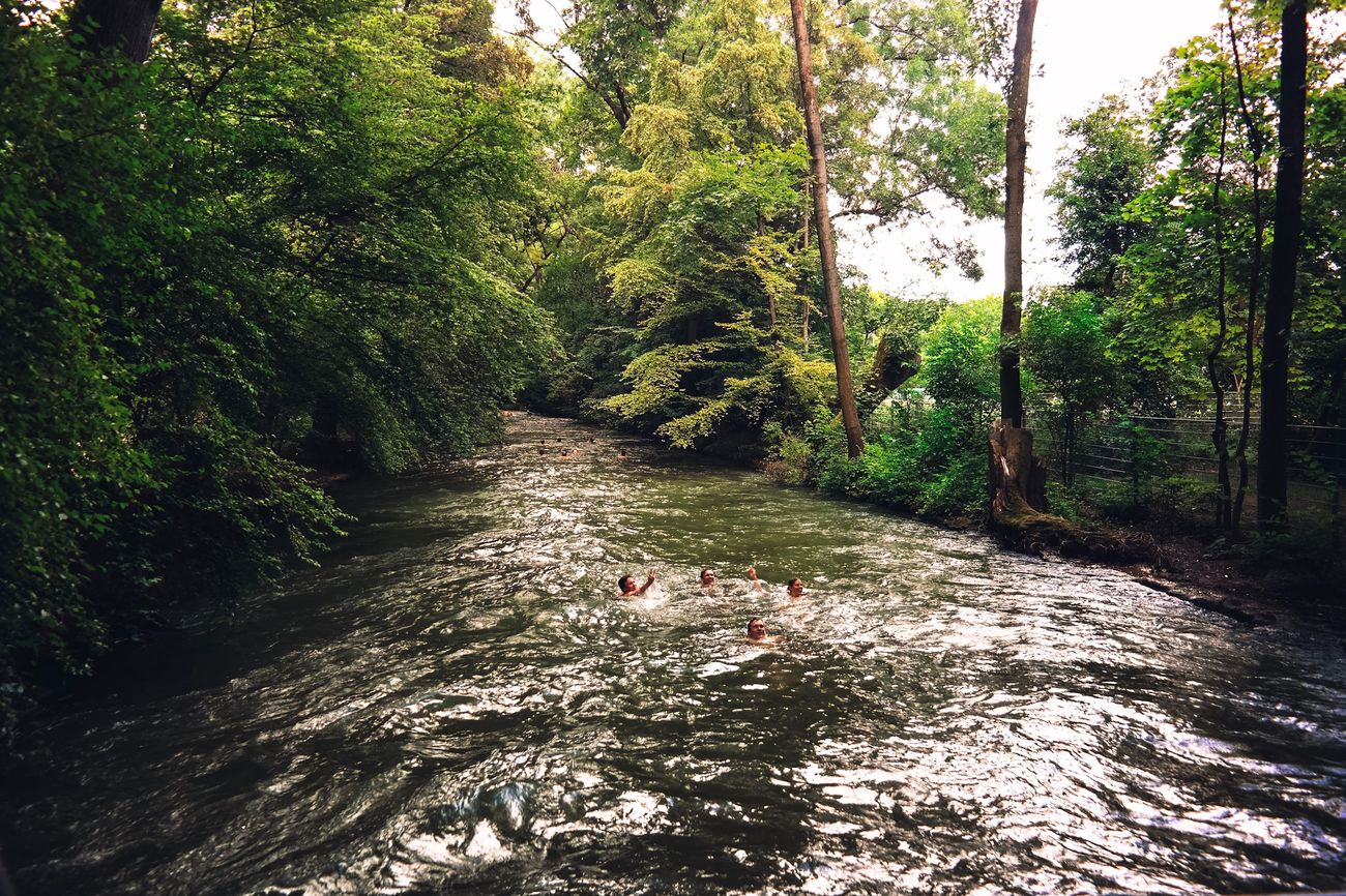 People swimming in stream Beauty In Nature Day Green Color Growth Nature Outdoors People Scenics Stream Swimming Tranquility Tree Water