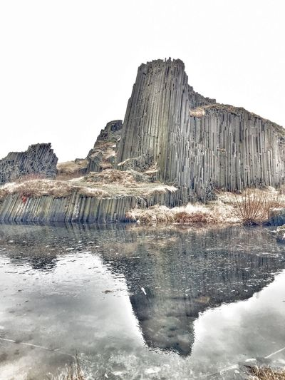 Volcanic activity created this nature monument 30million years ago Ice Mirror Nature Winter Lava Picoftheday Like4like Awesome Photography Monument Reflection Rock Landscape Travel Wonder Photooftheday