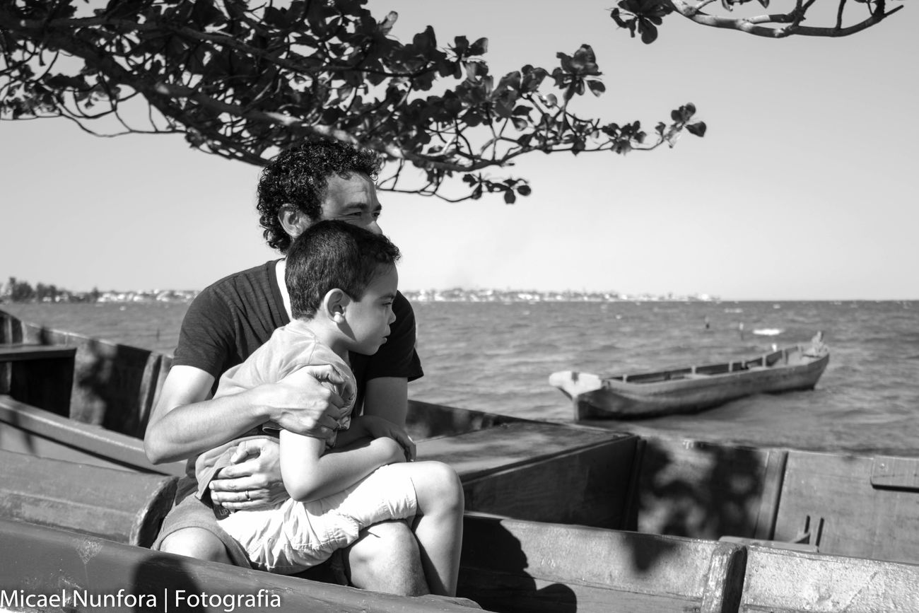 Black And White Two People Males  Love Baby Togetherness Embracing Childhood Family Bonding Old-fashioned Horizontal Care Son Adult People Females Men Happiness Water
