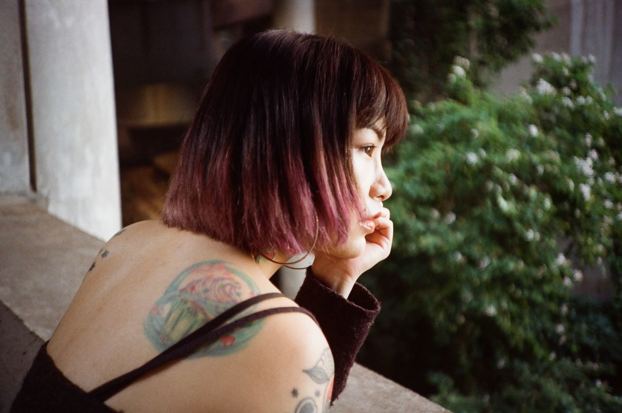 Adult Adults Only Beautiful Woman Close-up Day Film Photography Filmisnotdead Headshot Indoors  Leisure Activity Lifestyles One Person One Woman Only One Young Woman Only Only Women People Portrait Real People Tattoo Women Young Adult Young Women Fresh On Market 2017