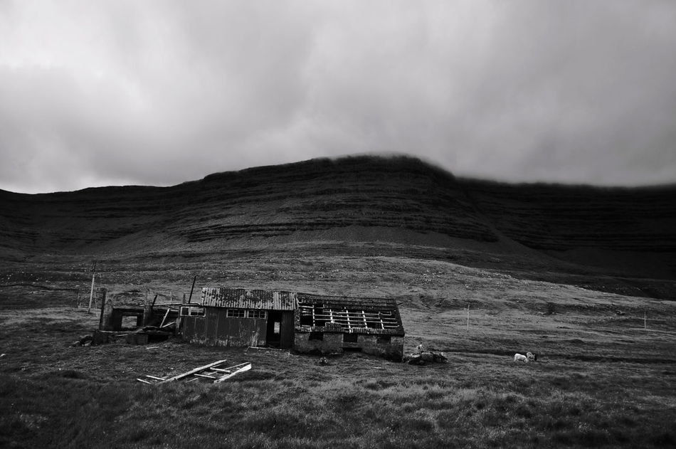 Beauty In Nature Blackandwhite Faroe Islands Landscape Mountain Mountain Range No People Old House Remote Ruined Sky Vacation