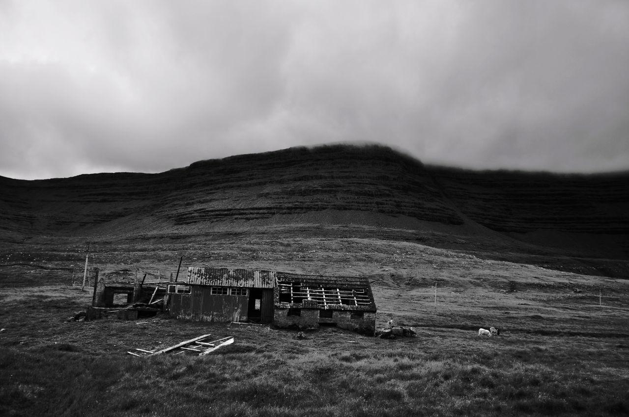 Beauty In Nature Cloud - Sky Faroe Islands Landscape Monochrome Photography Mountain Nature No People Old Buildings