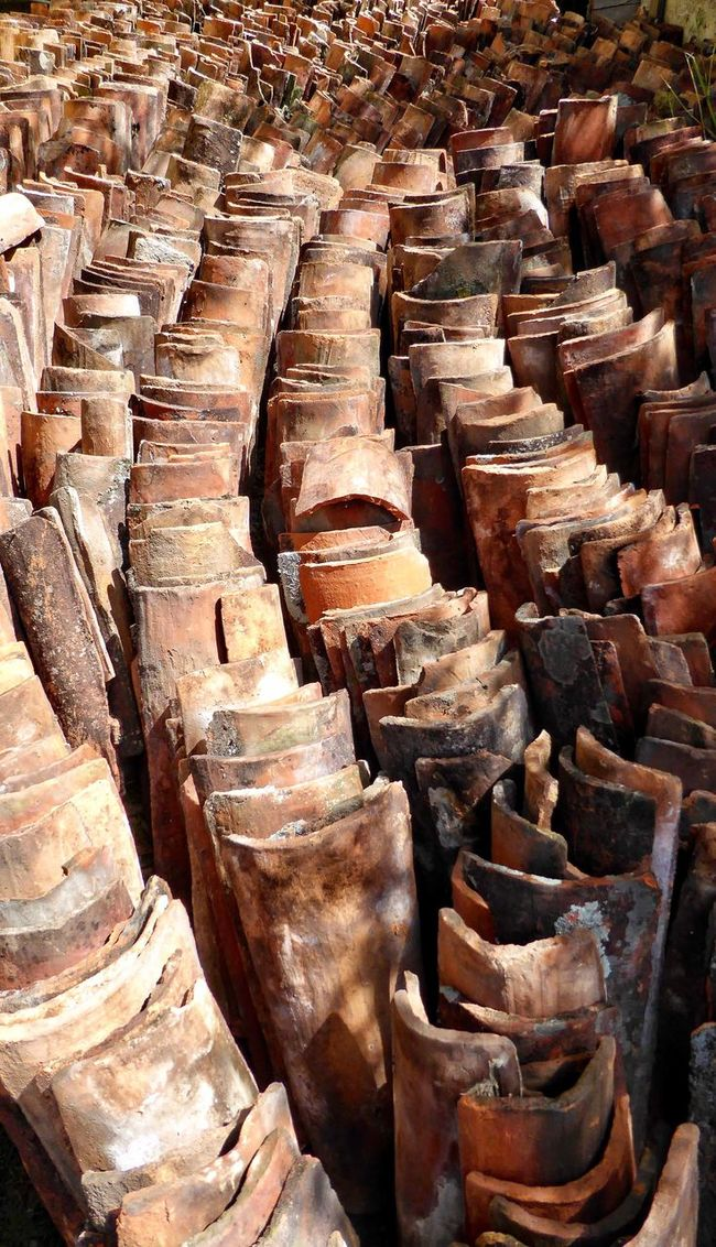 Large Group Of Objects In A Row Weathered Roof Tiles Roofing Costa Rica Like A River Abundance Repetition