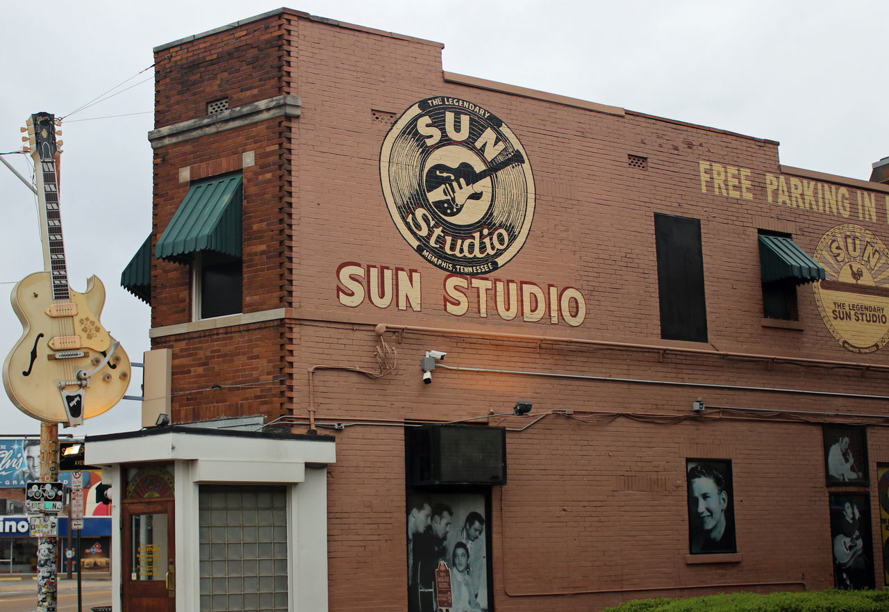 Sun Studio...Memphis, TN Architecture Building Exterior Built Structure Clock Day Low Angle View Minute Hand No People Outdoors Sky Text Time