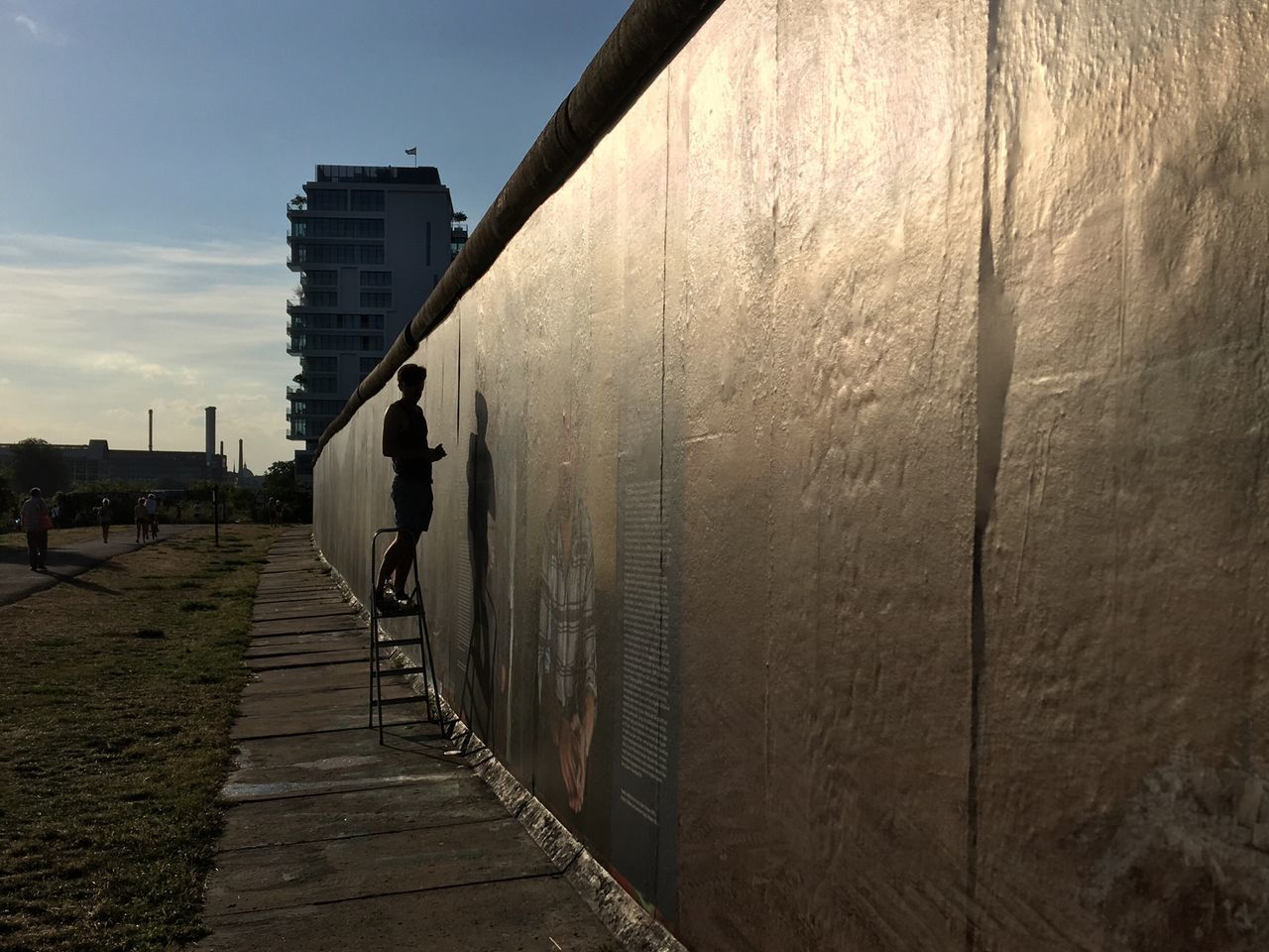 Berlin East Side Gallery Artist Creating Berlin Wall Twilight