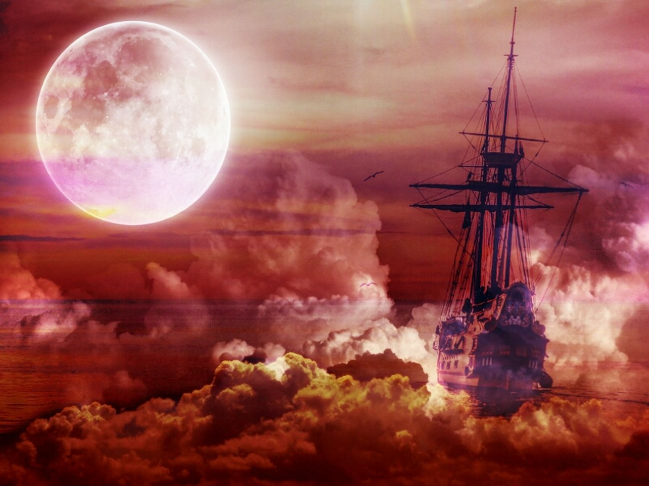 Sailing ⛵⚓on the clouds ☁☁ Moon Night Reflection Nautical Vessel Sunset No People Landscape Outdoors Sky Astronomy Fantasy Edits Fantasy Dreaming Fantasy World Surrealism Surreal Surrealist Art Getting Inspired Getting Creative Creativity Sailing Ship Fullmoon Skyporn Clouds And Sky Clouds
