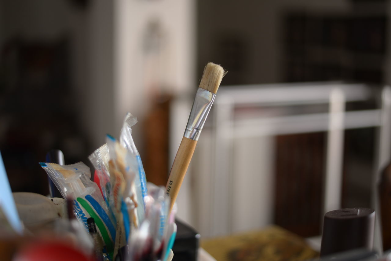 make art Art Supplies Artist's Table Artistic Bokeh Close-up Copy Space Domestic Life Focus On Foreground Getting Inspired Home Home Is Where The Art Is Indoors  Make Art Paint Brush Painting Pencils Still Life Still Life Photography Work Table