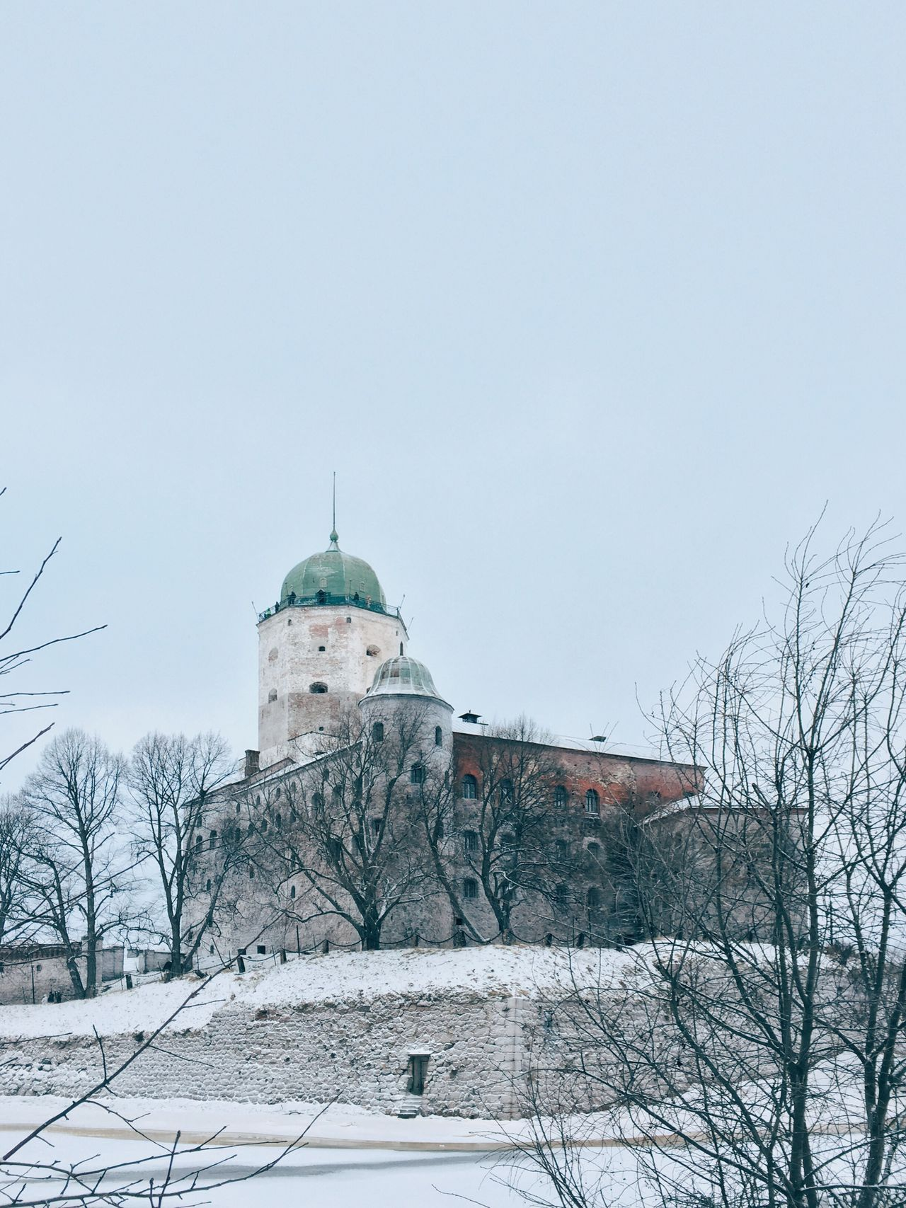 Architecture Winter Building Exterior Snow Built Structure Cold Temperature Bare Tree No People Tree Nature Outdoors Place Of Worship Day Beauty In Nature Sky Castle Russia Vyborg Miles Away