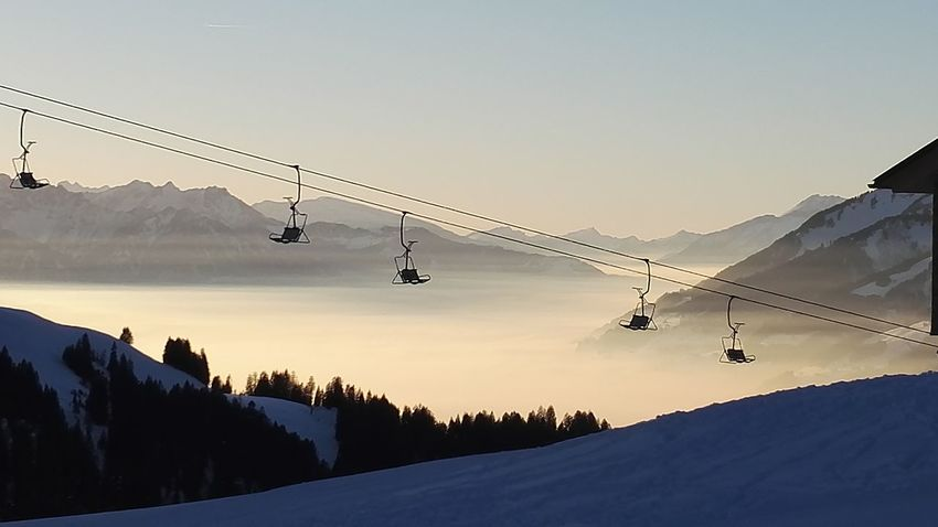 Sunset Landscape Mountain Nature Fog Sky Outdoors Snow Nofilter Beauty In Nature Winter Sport