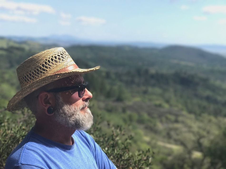 Beard Hat Headshot Real People Outdoors Mustache Men Day One Person Portrait Landscape Nature Lifestyles Close-up Sky People Selfies Sonoma Wine Country Enjoying The View