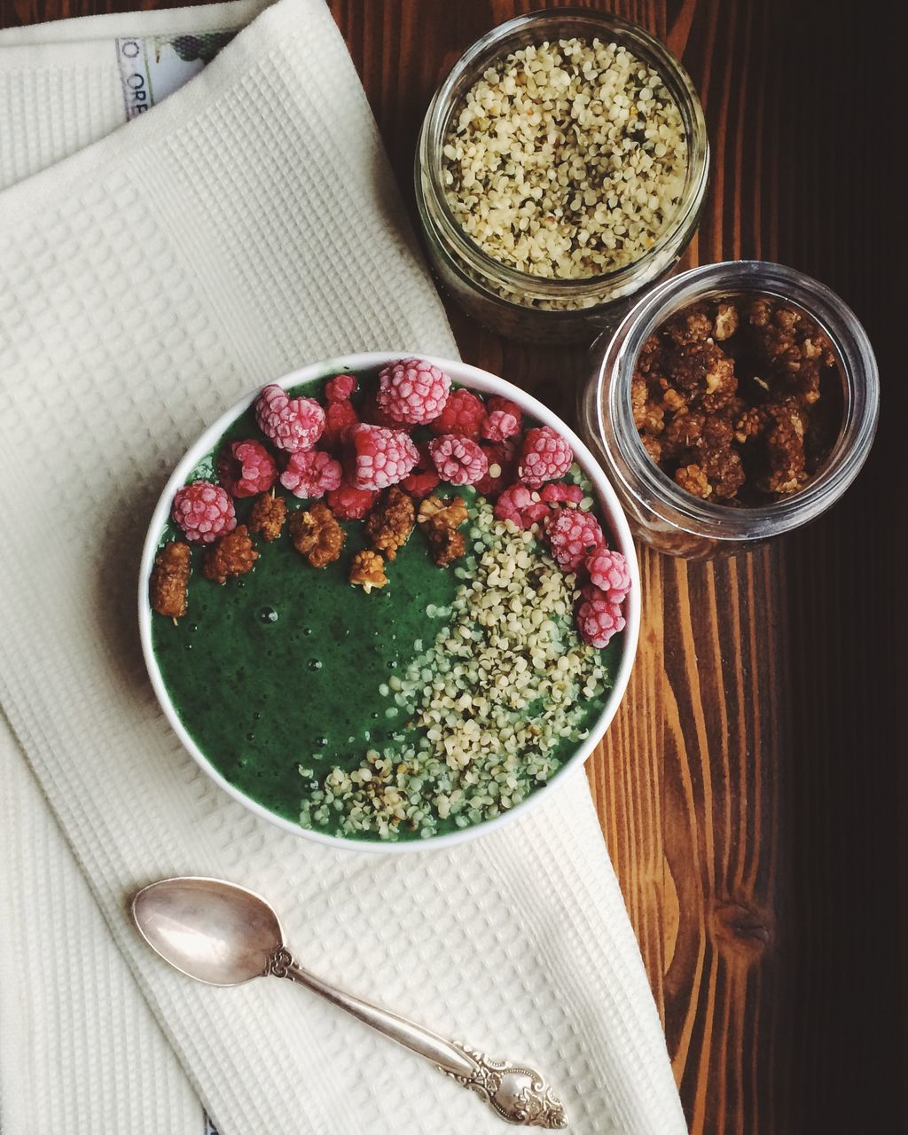 High Angle View Of Smoothie In Bowl