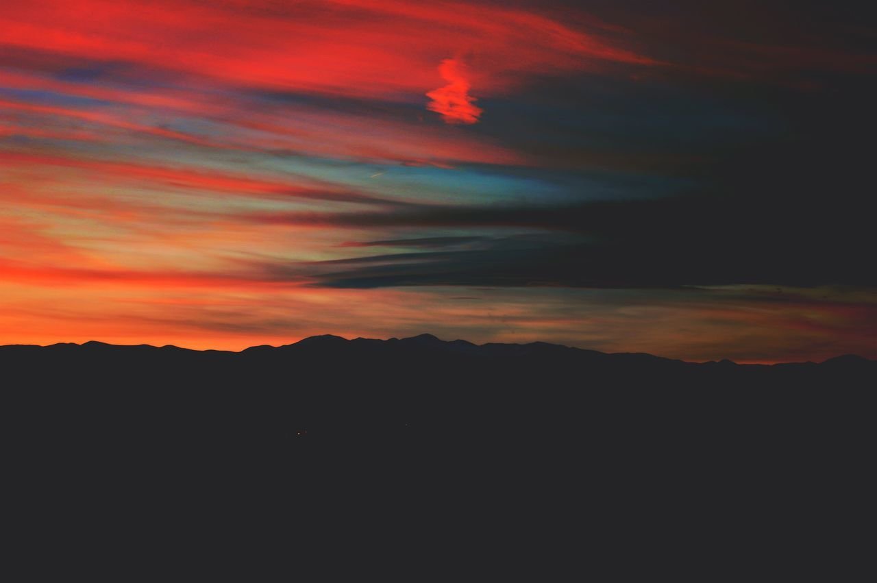 silhouette, sunset, sky, tranquil scene, beauty in nature, scenics, nature, tranquility, no people, cloud - sky, mountain, outdoors, backgrounds, landscape, day