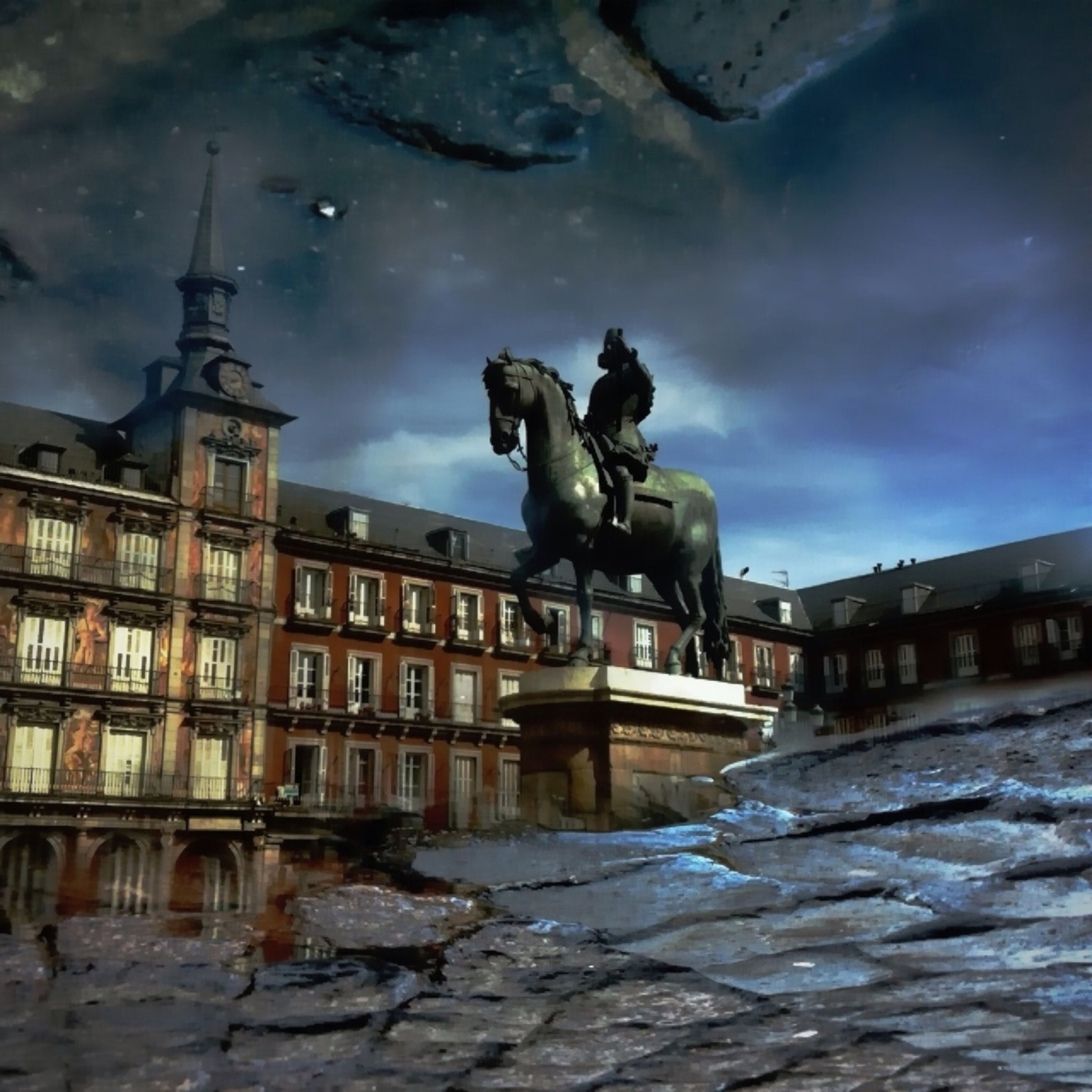 architecture, building exterior, built structure, statue, sculpture, sky, cloud - sky, human representation, art and craft, art, cloudy, water, cloud, building, city, animal representation, creativity, travel destinations, low angle view