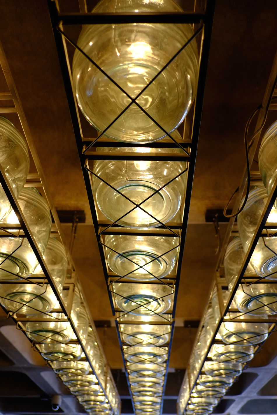Design elements at modern-style bar/cafe/restaurant Architecture Built Structure Ceiling Close-up Glass - Material Illuminated Indoors  Industrial Style Interior Design Lighting Equipment Low Angle View Modern Architecture Night No People
