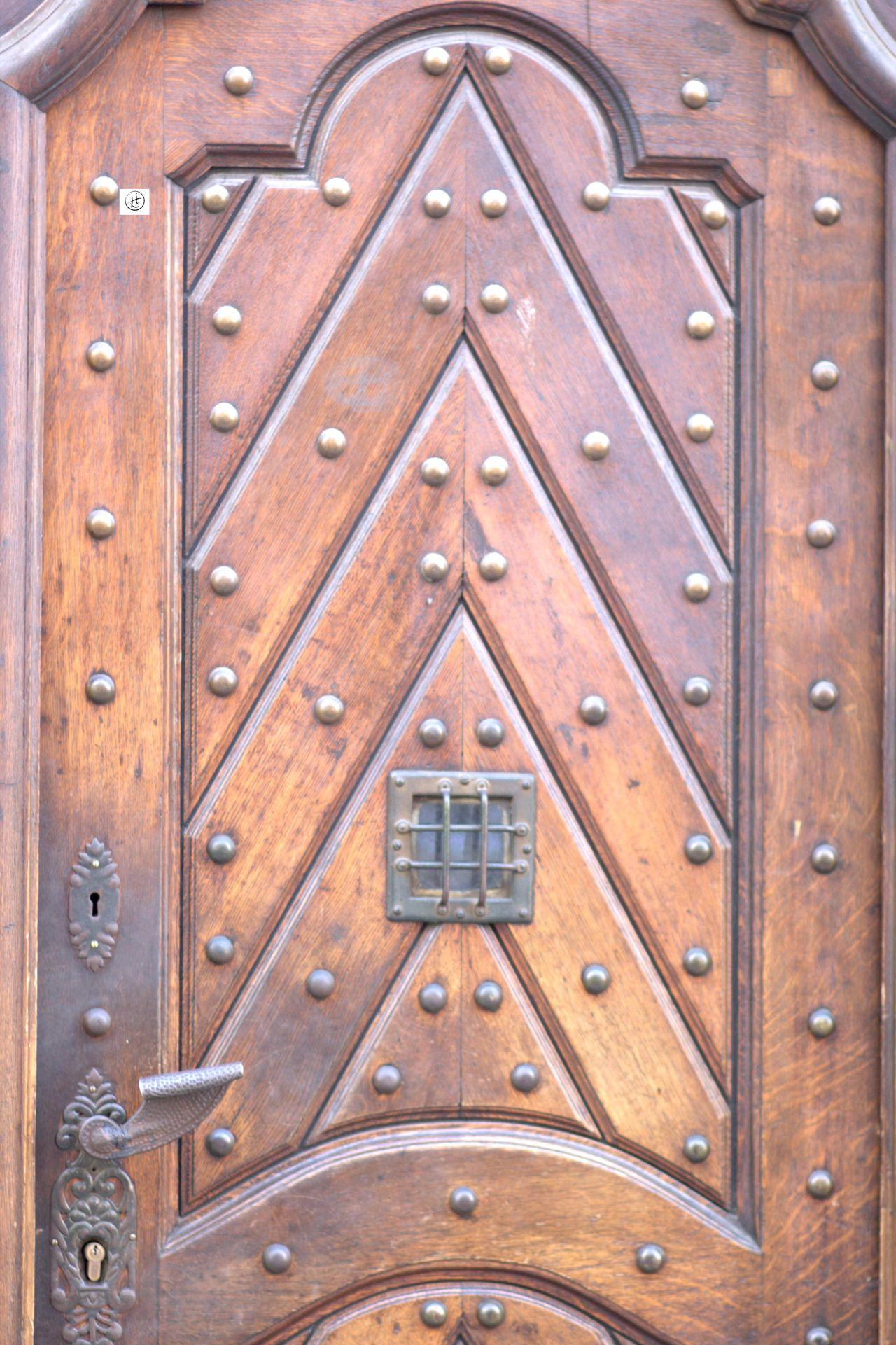Craftsmanship  Door Full Frame Ironmongery Old Peep Hole Prague Unique Wooden