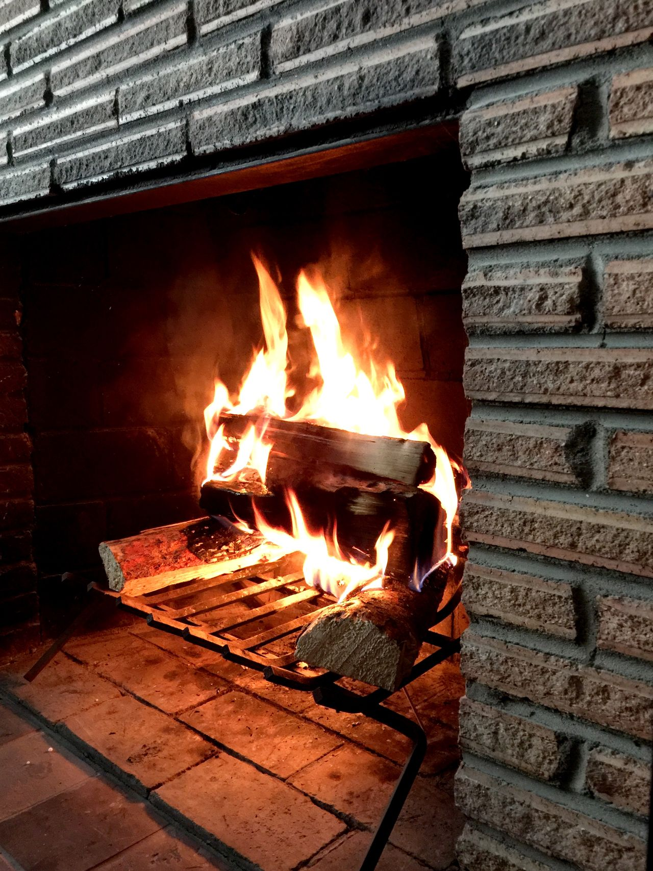 Fire Fireplace Home Brick Wood Element Warm