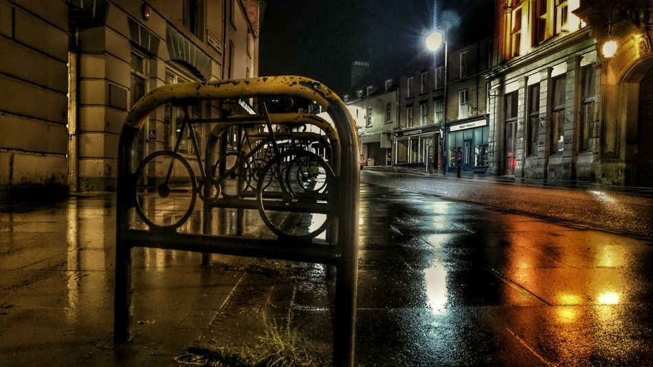 Bike Rack Night Lights Darkness And Light Night Time In The City Streetphotography Street Life Nightphotography Bikeporn Rack Reflection_collection Wet Road Wales You Beauty Welshpool Village View Empty Places Shhhhhhhhhhh....
