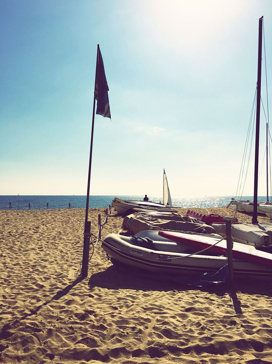 Beach Sand Water Sea Sky Shore Nature Flag No People Tranquil Scene Day Outdoors Beauty In Nature Montgat Maresme Barcelona Nautic Club Horizon Over Water Nautical Vessel