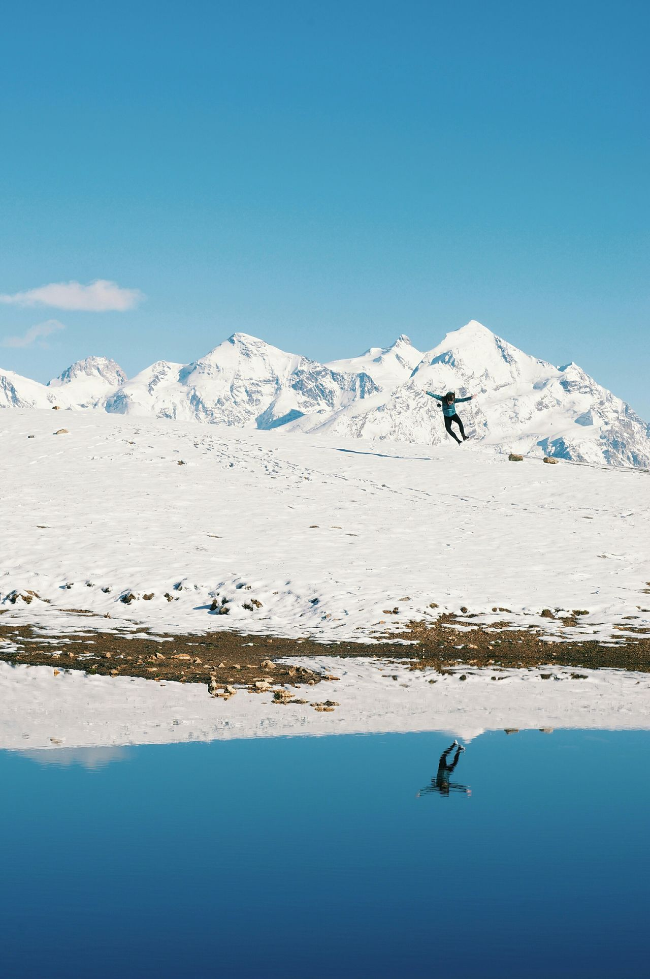 Mestia Georgia Snow Jump Sveneti Mountain Reflection Fun Landscape Pastel Power Landscapes With WhiteWall The Great Outdoors - 2016 EyeEm Awards People Of The Oceans Miles Away