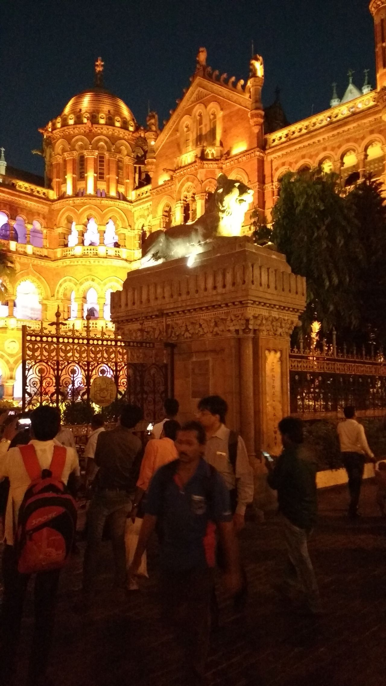 Mumbai heritage Architecture Night Illuminated Travel Destinations Built Structure People Building Exterior Vacations Outdoors Adults Only