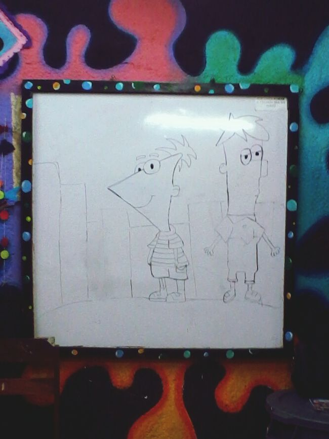 My cuchis learn how to draw phineas and ferb ^---^ Drawing Cartoon Phineasandferb