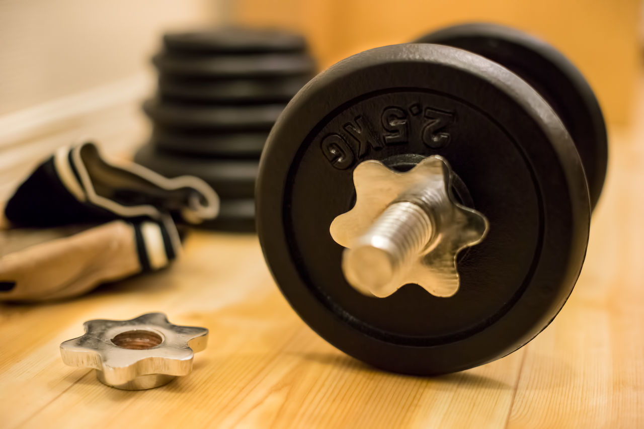 Beautiful stock photos of workout motivation, Barbell, Black Color, Close-Up, Hardwood Floor