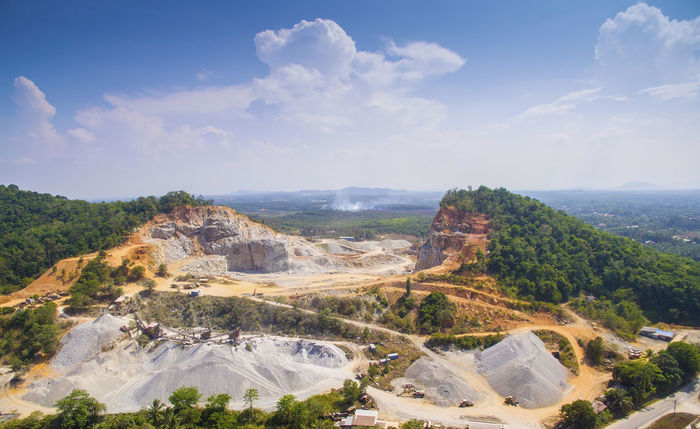 aerial view quary factory in marang terengganu malaysia Beauty In Nature Blue Cloud Cloud - Sky Geology Idyllic Landscape Mountain Nature Non-urban Scene Outdoors Physical Geography Rock Rock - Object Rock Formation Rocky Mountains Scenics Sky Stone Tourism Tranquil Scene Tranquility Travel Destinations
