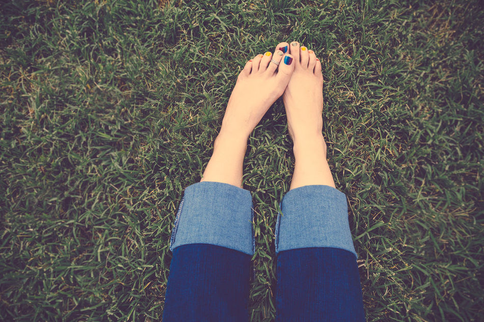 Cuffed Jeans Feet Female Grass High Angle View Legs Looking Down One Person Painted Toenails Peace Person Person In Nature Personal Perspective Portrait Relaxed Serenity Sitting On Ground Toes Tranquility Woman