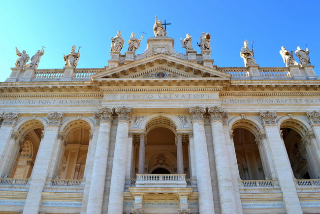 Architecture Basilica Cathedral Rome Vatican Arch Architectural Detail Architecture Building Exterior Built Structure Cathedrale Catholic Church Church Architecture Day History Italy Laterano Low Angle View No People Outdoors Rome Italy Sculpture Sky Statue Travel Destinations
