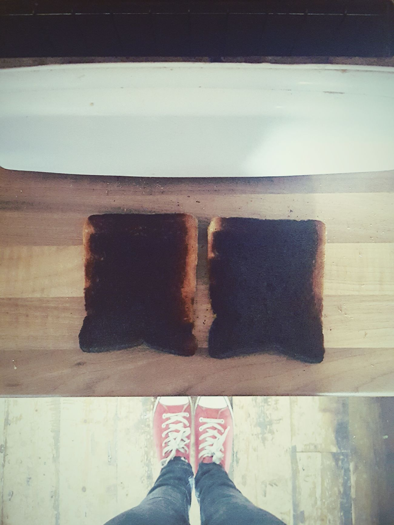Before Ten Burnt Toast Black Looking Down Squares In The Kitchen Double Trouble