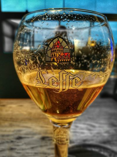 Close-up Drink Refreshment No People Drinking Glass Indoors  Alcohol Refraction Day Huaweiphotography HuaweiP9 Leffe Blonde Leffe Waiting At Rotterdam The Hague