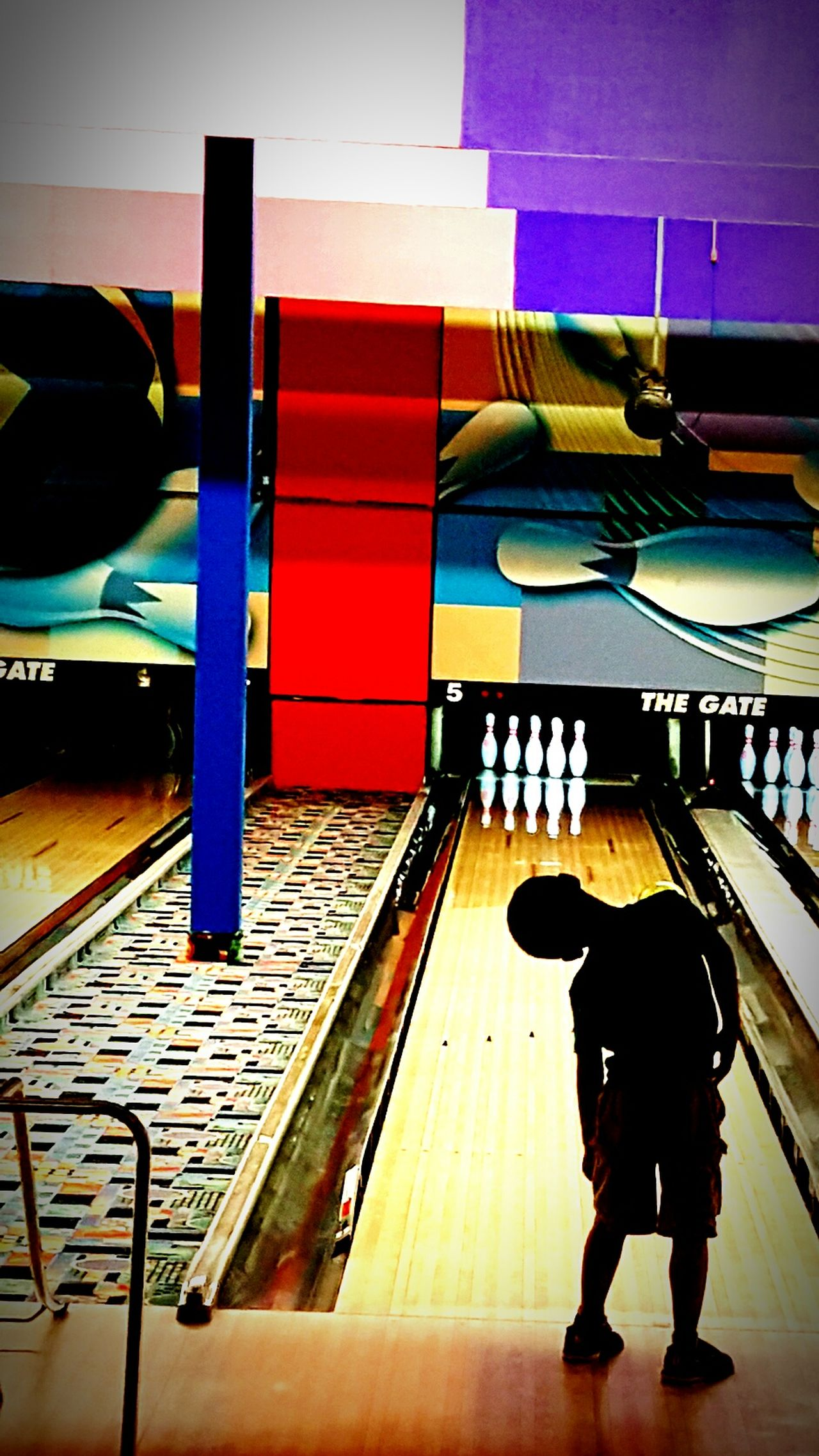 Real People Full Length One Person Silhouette Littleboy Bowling Alley Curiosity Leaning