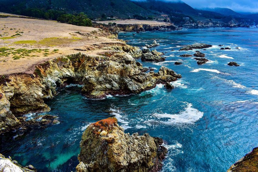 Birds eye view Rock - Object Water Nature Beauty In Nature Sea Scenics Tranquility No People Day Outdoors Landscape Sky Travel Been There. Lost In The Landscape Big Sur CALIFORNIA Big Sur, California. Oceanside Ocean View Connected By Travel Horizon Over Water Rock Formation High Angle View Travel Destinations Big Sur Perspectives On Nature