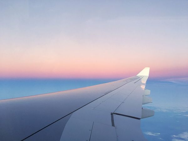 Lost In The Landscape Airplane Sky Journey Transportation Airplane Wing Nature Mode Of Transport Aircraft Wing Air Vehicle Beauty In Nature Travel No People Scenics Sunset Flying Tranquil Scene Sea Cloud - Sky Outdoors Aerial View EyeEmNewHere Connected By Travel Lost In The Landscape