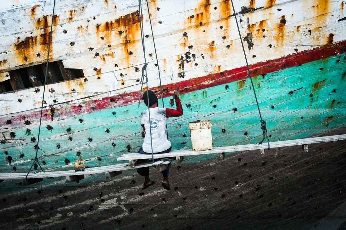 People Working Shipdock Boat Phinisi
