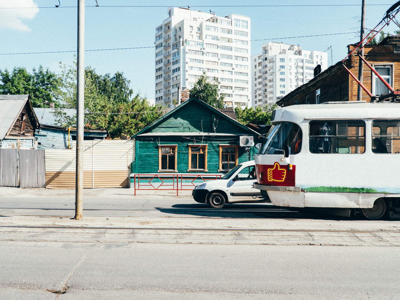 Architecture Building Exterior Built Structure City Day Land Vehicle Mode Of Transport No People Outdoors Residential Building Road Russia Samara Sky Transportation Tree