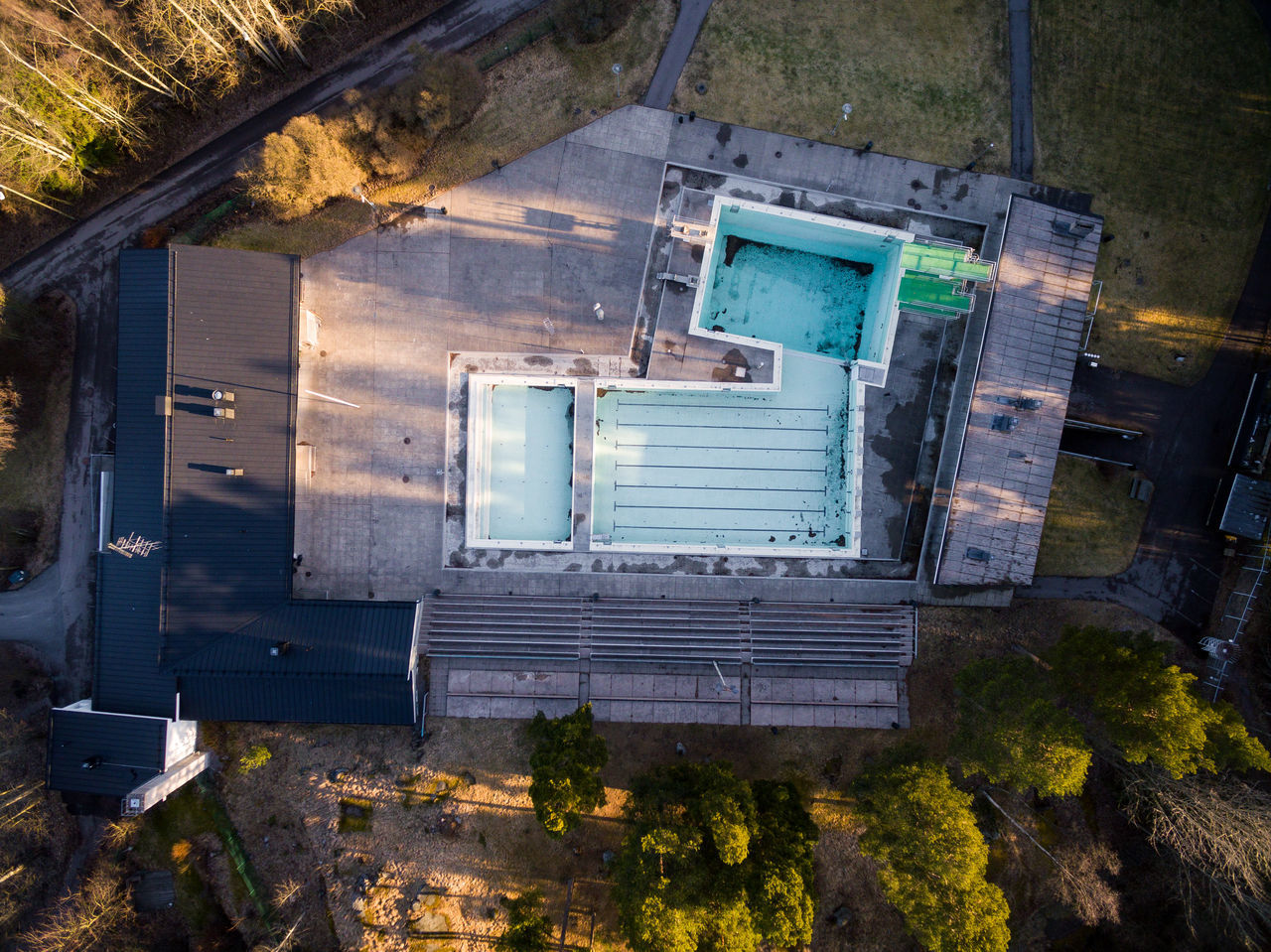 Abandoned Architecture Building Exterior Built Structure Day Drone  Finland From Above  Helsinki High Angle View No People Outdoors Swimming Pool Technology Top Perspective Window