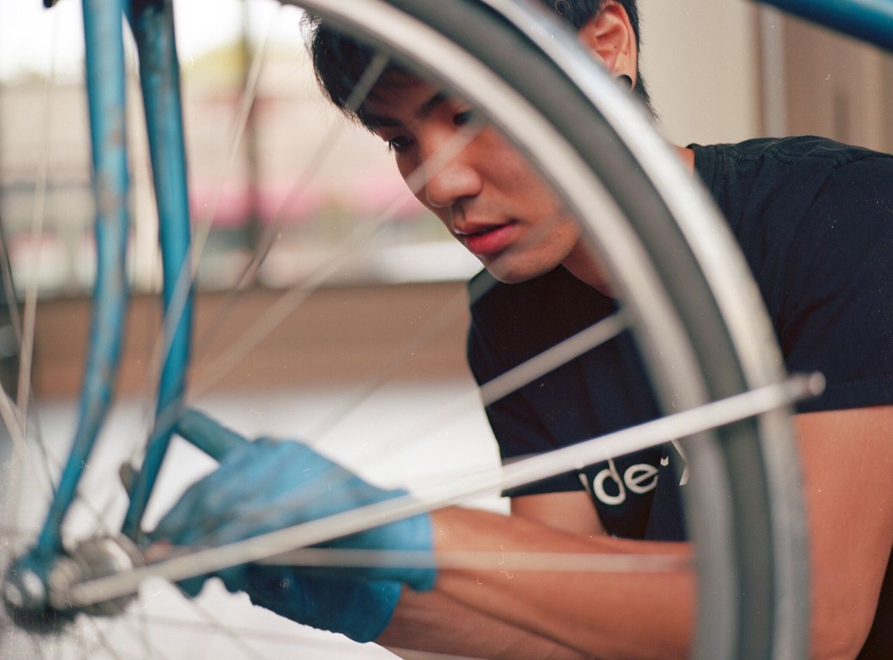 Bike repair clinic at Impact HUB Seattle. Bike Repairs Mamiya Kodak Portra