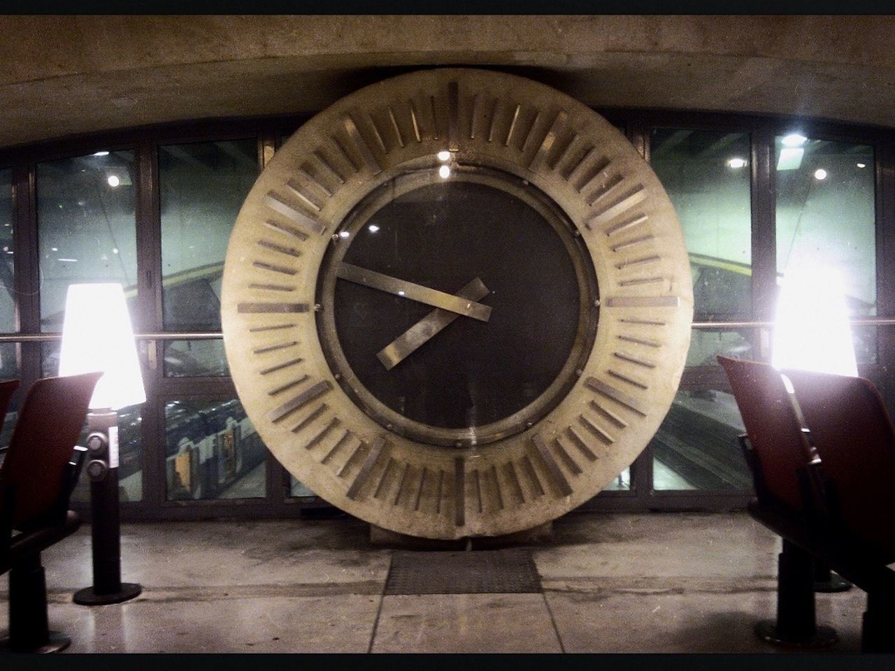 indoors, clock, time, illuminated, minute hand, no people, roman numeral, night, clock face, close-up