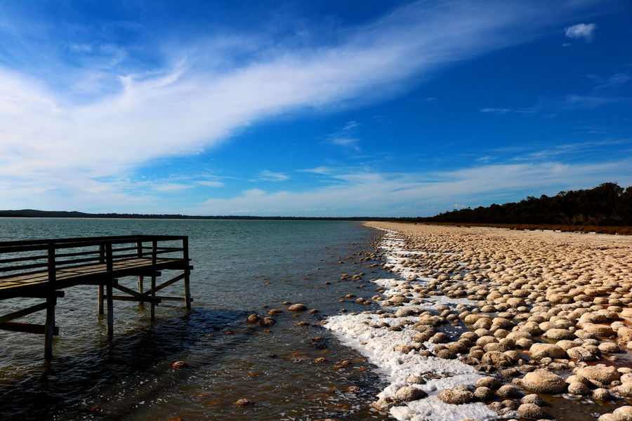 Thrombolites at Lake Clifton Beach Boardwalk Calm Coastline Distant Horizon Over Water Lake Lake View Leading Nature Nature_collection Outdoors Rippled Sand Scenics Sea Shore Stromatolites The Way Forward Thrombolites Tranquil Scene Tranquility Walking Around Water Waterfront