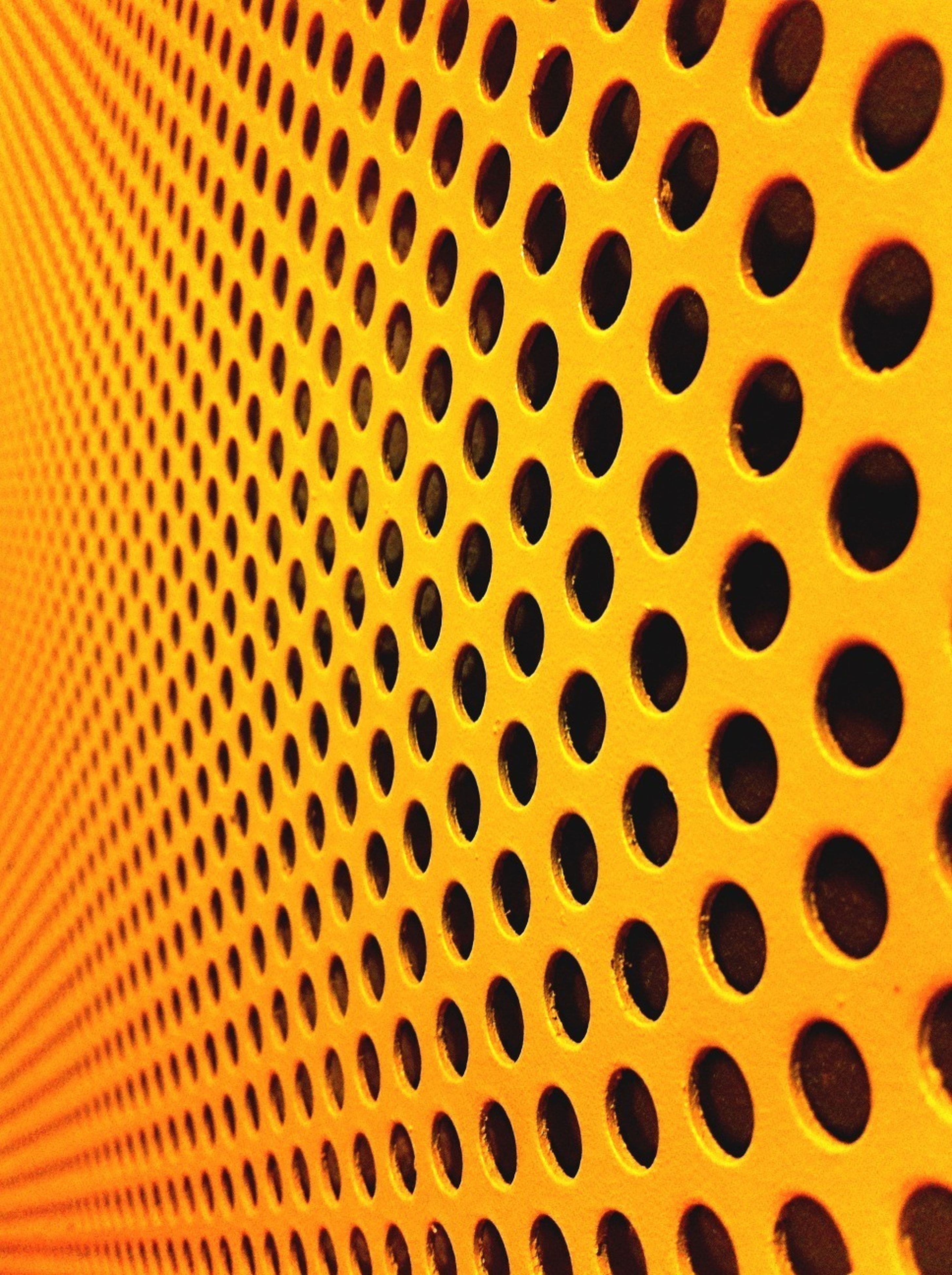 indoors, pattern, full frame, backgrounds, yellow, textured, design, repetition, metal, close-up, geometric shape, metallic, circle, wall - building feature, built structure, architecture, no people, in a row, shape, ceiling