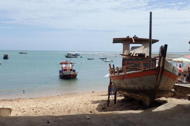 Morro de Sao Paulo island, Bahia, Brazil Beach Boat Brazil Fishboat Horizon Over Water Island Morro De São Paulo Nature Nautical Vessel Sand Sea Tranquil Scene Tranquility Water