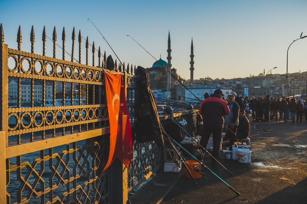 Commercial Dock Outdoors Harbor Sky Architecture Nautical Vessel Ottoman Empire Islam Türkiye Cityscape Turkey Istanbul Türkei Transportation Galata Bridge - İstanbul City Sunset Eminönü/ İstanbul Eminönü Travel Sea Ship Fishermen Fishing Turkish Flag