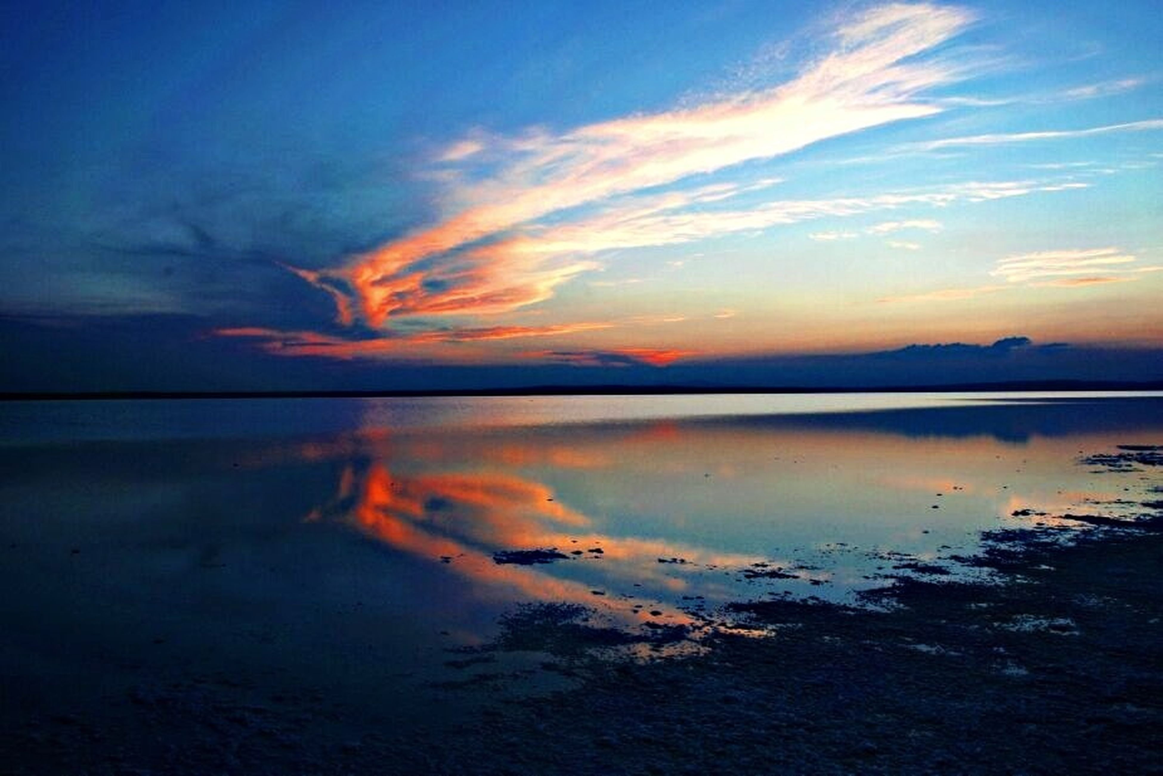 water, scenics, tranquil scene, sunset, tranquility, sky, beauty in nature, reflection, sea, cloud - sky, idyllic, nature, beach, cloud, lake, dusk, calm, orange color, silhouette, shore
